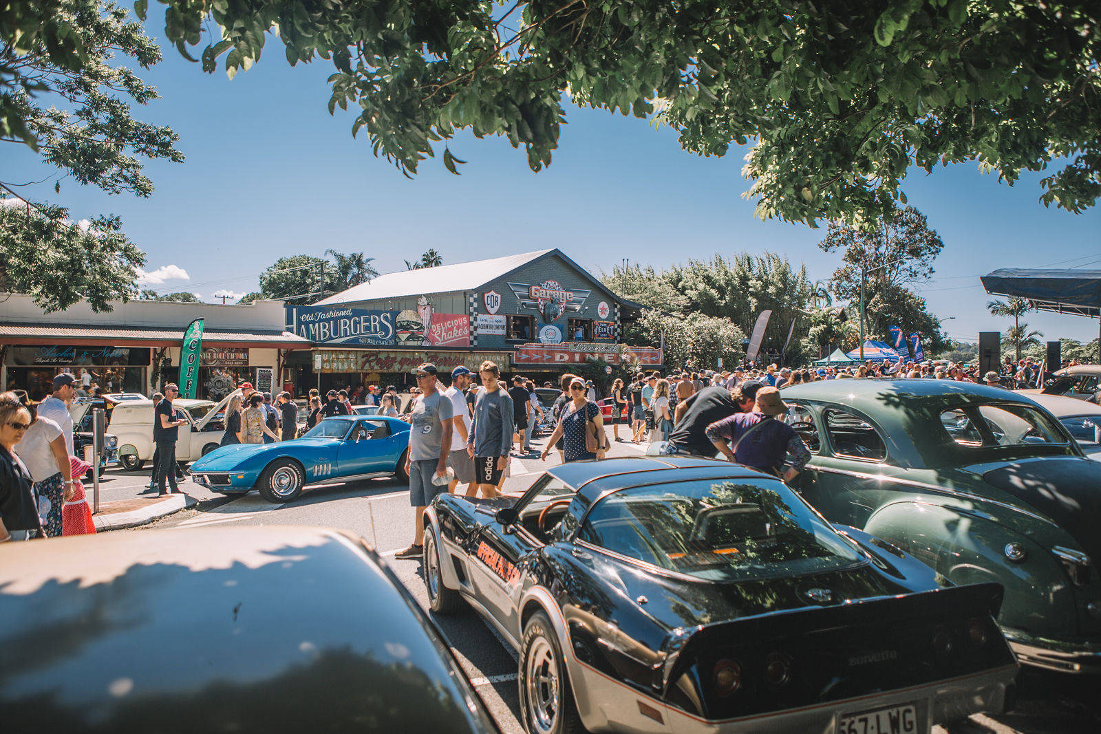 Cars and crowd