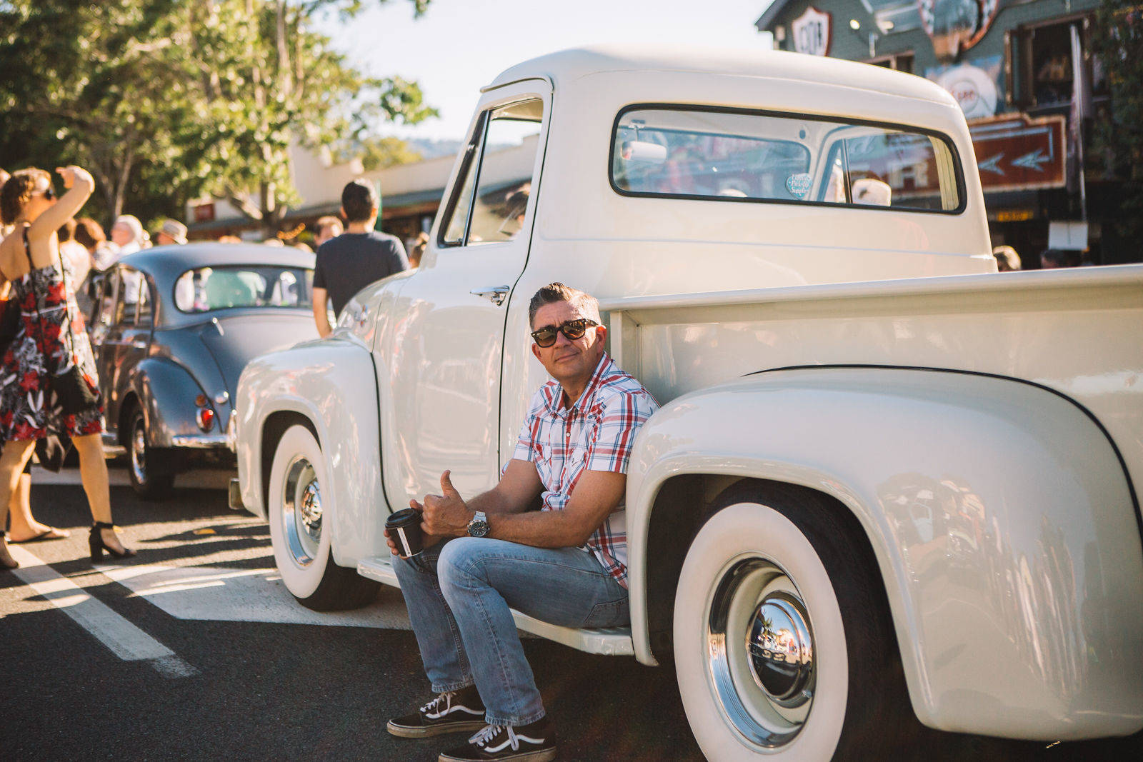 Guy on white pickup
